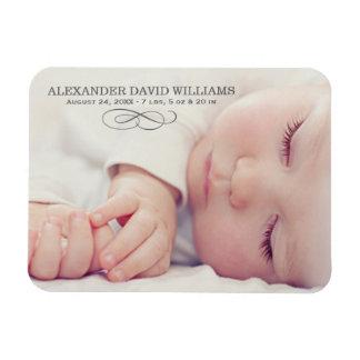 Photo Birth Announcement   Simple Elegance Rectangular Photo Magnet