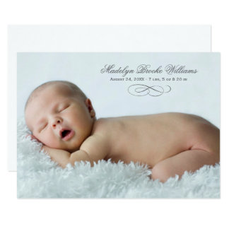 Photo Birth Announcement | Simple Script Elegance