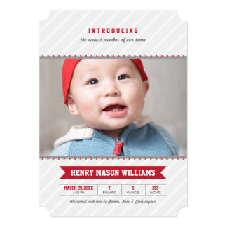 Photo Birth Announcements | Baseball Theme