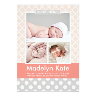 Photo Birth Announcements | Chic Pattern Baby Girl