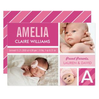 Photo Birth Announcements | Color Block Collage