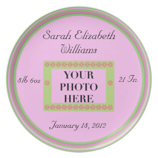 Photo Birth Keepsake Plate - Pink/Green