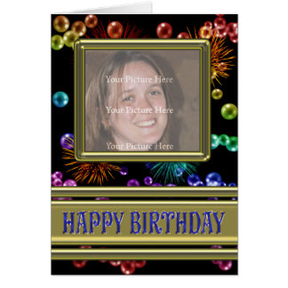Photo Birthday card with bubbles and fireworks