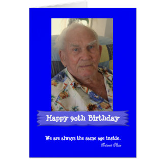 Photo Birthday Customisable Bright Blue Card