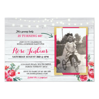 Photo Birthday Party Coral Floral Vintage Invite