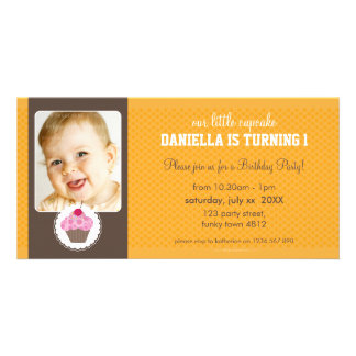 PHOTO BIRTHDAY PARTY INVITE :: cupcake 2L Personalised Photo Card