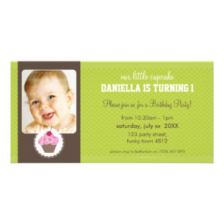 PHOTO BIRTHDAY PARTY INVITE :: cupcake 2L Customised Photo Card
