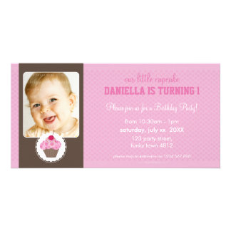PHOTO BIRTHDAY PARTY INVITE :: cupcake 3L Custom Photo Card