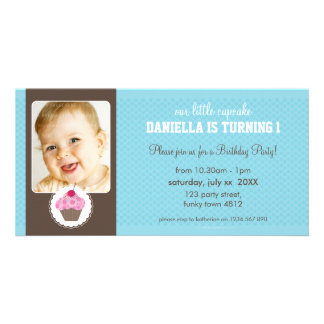 PHOTO BIRTHDAY PARTY INVITE :: cupcake 6L Photo Card Template