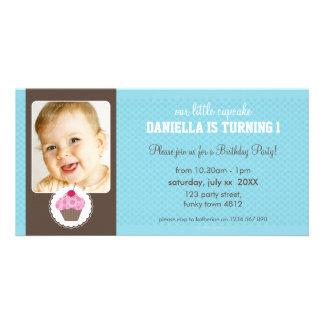 PHOTO BIRTHDAY PARTY INVITE :: cupcake 6L Photo Cards