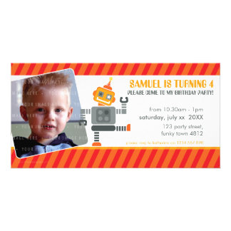 PHOTO BIRTHDAY PARTY INVITE :: robot dancing 2L Photo Card Template