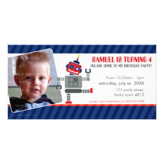 PHOTO BIRTHDAY PARTY INVITE :: robot dancing 3L Personalized Photo Card