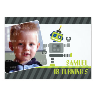 PHOTO BIRTHDAY PARTY INVITES :: robot dancing 1L 13 Cm X 18 Cm Invitation Card