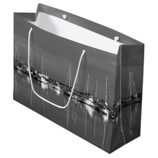 photo black and white, boats large gift bag