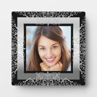 Photo Black Silver White Lace Ornate Display Plaque