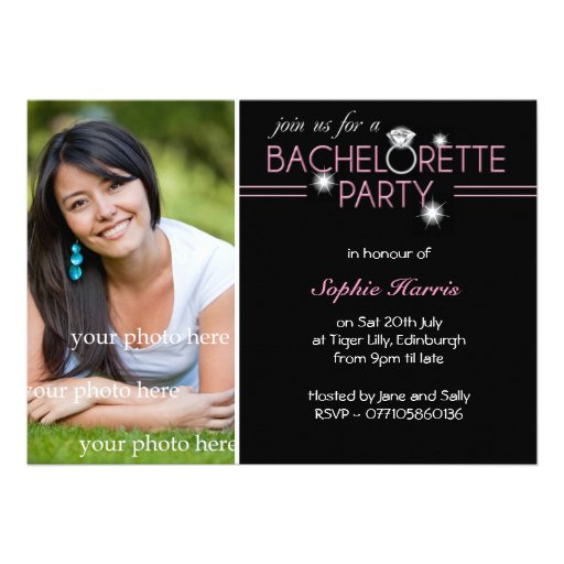 Photo Bling Ring Pink Bachelorette Party Invite