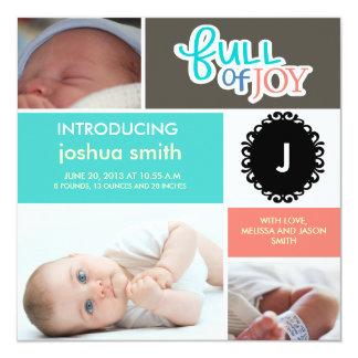 Photo block baby boy announcement