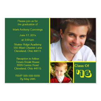 Photo Blocks Graduation Invitation (Green)