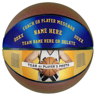 Photo Blue and Gold Personalised Basketball Ball