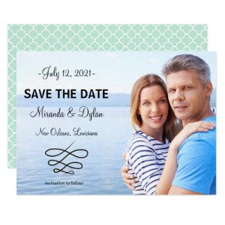 Photo Blue Quatrefoil - 3x5 Save the Date Card