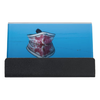 photo boat on water desk business card holder