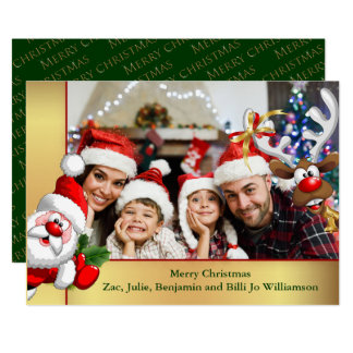 Photo Bomb Santa Reindeer Family Photo Christmas Card