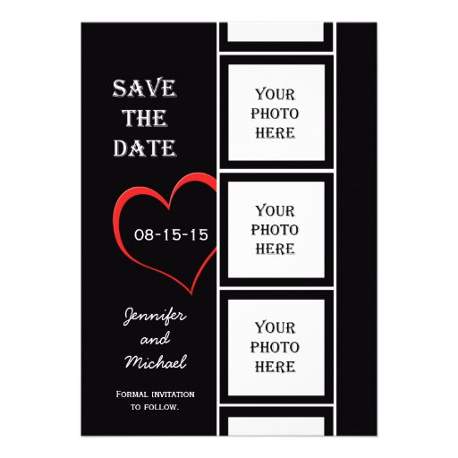 Photo Booth Style Save the Date Invitation Card Custom Invites