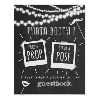 Photo booth wedding guestbook sign chalkboard poster