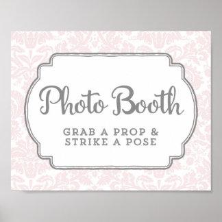 Photo Booth Wedding Sign Blush Pink Vintage Damask Poster