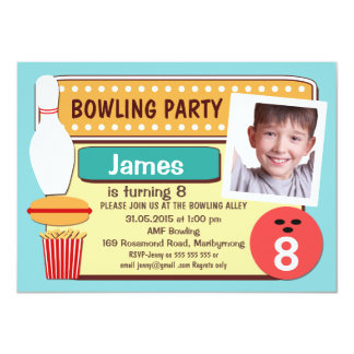 Photo Bowling Birthday Party Invitation