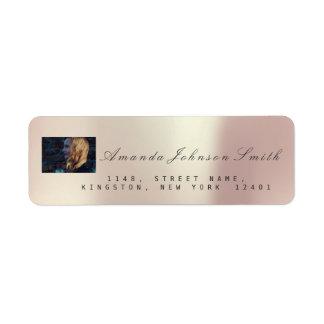 Photo Bridal RSVP Pink Rose Metallic VIP Return Address Label