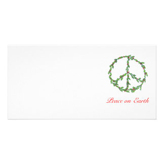 Photo Card Christmas Peace Wreath, Peace on Earth