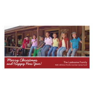 Photo Card: Merry Christmas with 1 large photo Personalized Photo Card