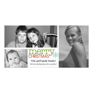 Photo Card: Merry Christmas with 3 photo collage