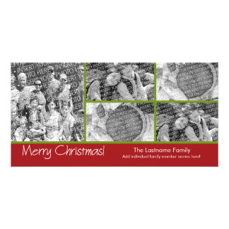 Photo Card Merry Christmas with 5 photo collage