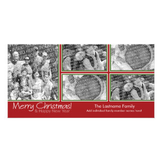 Photo Card: Merry Christmas with 5 photo collage