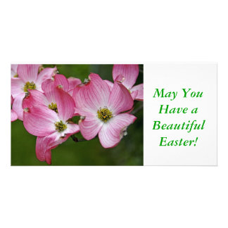 Photo Card:  Pink Dogwood Easter Customised Photo Card