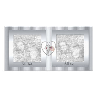 Photo Card Silver Metal Ripple Heart Double Frame