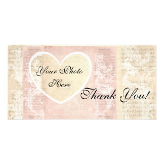 Photo Card Thank You! Heart Photo Vintage Pinks