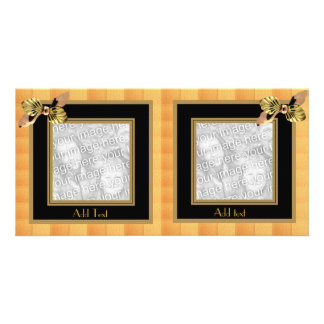 Photo Card Tiles Black Gold Bow Double Frame
