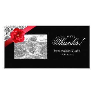Photo Card with red floral bow & damask