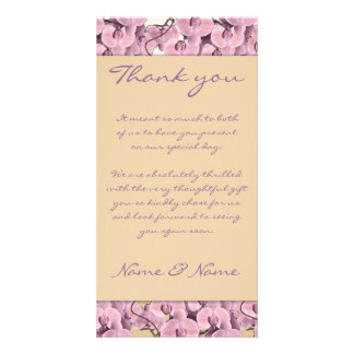Photo cards template - customizable pink orchids