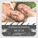 Photo Chalkboard Wedding Save the Date Seal Square Stickers