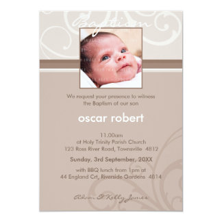 "PHOTO CHRISTENING INVITES :: charity 1P 5"" X 7"" Invitation Card"