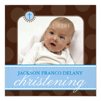 """PHOTO CHRISTENING INVITES :: polkadot 6SQ 5.25"""" Square Invitation Card"""
