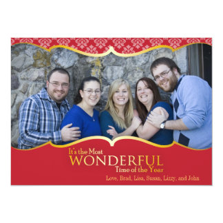 Photo Christmas Card Red and Gold Classic 14 Cm X 19 Cm Invitation Card