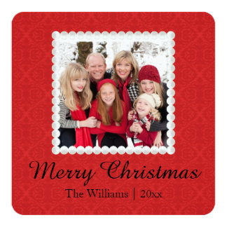 Photo Christmas card | Red Damask Merry Christmas 13 Cm X 13 Cm Square Invitation Card