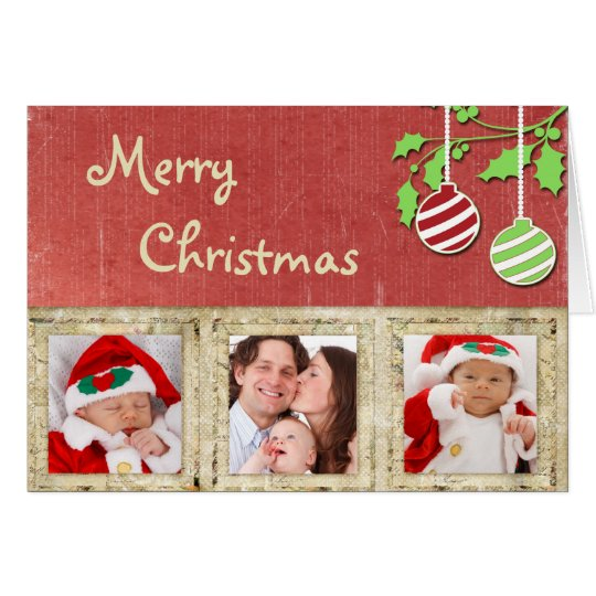 Photo Christmas Card Red with Ornaments