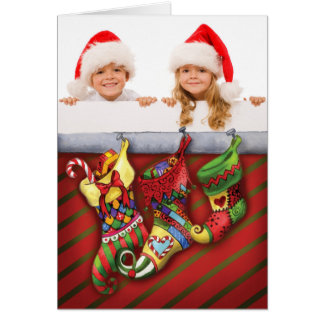 Photo Christmas Card with Red and Green Stockings.