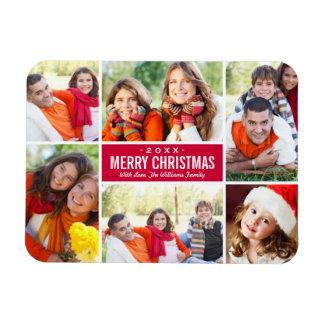 Photo Christmas Collage | Custom Color Rectangular Photo Magnet